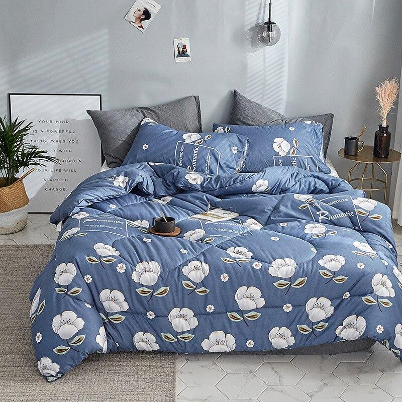 Winter comforter Microfiber edredon Quilted thicken bedding comforter printed  edredom keep warm winter quilts king size duvet