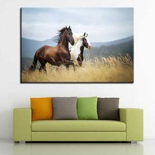 Canvas HD Printed Paintings Living Room Wall Art 1 Piece/Set Prairie Running Horses Pictures Scenery Poster Home Decor Framework(China)