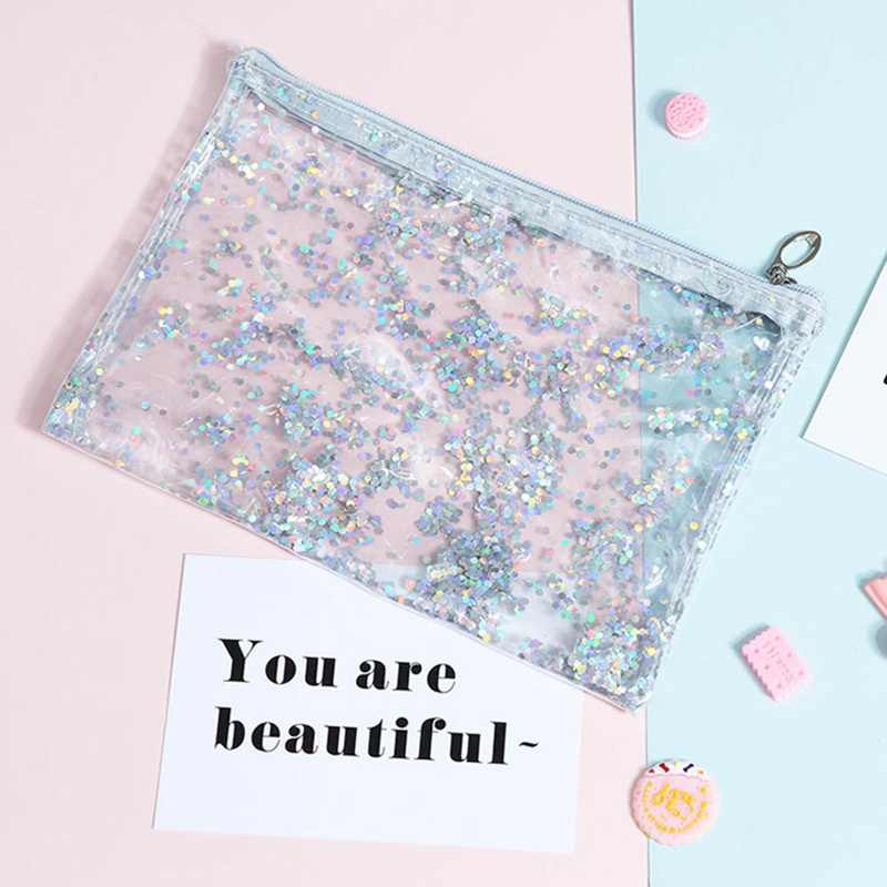 Kawaii Bright Star Flowing Pencil Cases Multi-Functional Stationery Pen Bag Storage Cosmetic Bag For Girls Gift School Supplies