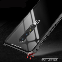 Oneplus 6 Case Metal Bumper Glass Back Cover for Oneplus 6 1+6 One Plus 6 Oneplus6 Transparent Tempered Glass Phone Case