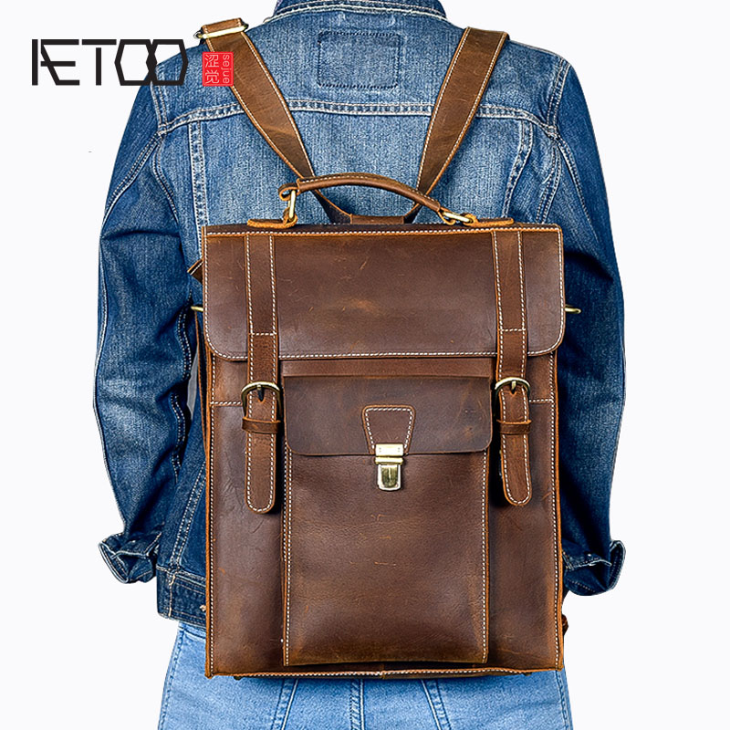 AETOO New mens leather multi-function backpack retro crazy leather large capacity brown backpack travel bags menAETOO New mens leather multi-function backpack retro crazy leather large capacity brown backpack travel bags men