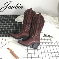 JUNBIE Red Wine Embroidery Slip On Women Cowboy Boots Square Toe Motorcycle Thick Heel Winter Boots Shoes Women