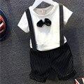 2016 moda bebê conjuntos de roupas cavalheiro criança meninos roupas Set de manga curta roupas conjunto de roupas