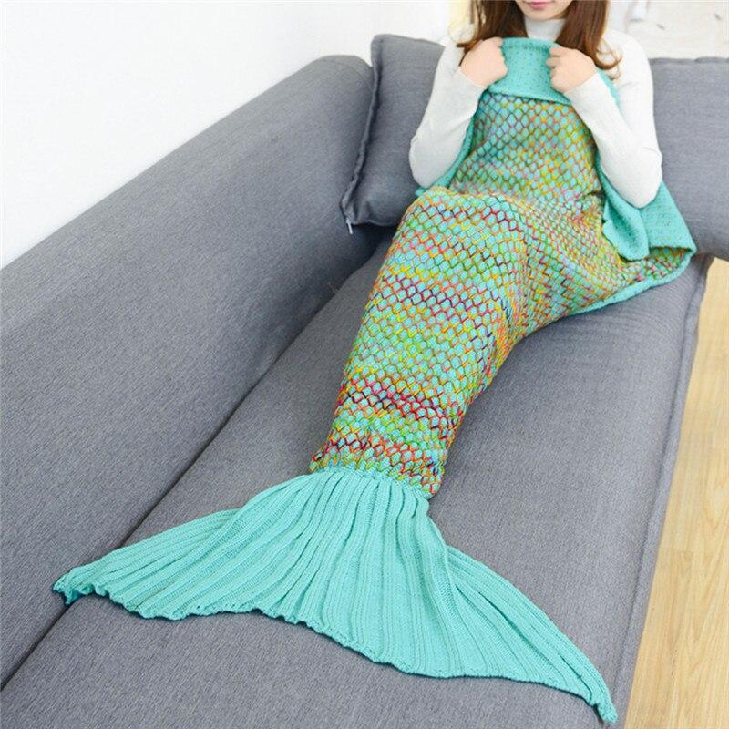 Bedding 190*90 Mermaid Blanket Of Knitting Mermaid Tail Winter Blanket Children Sofa Mat Home Textile