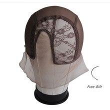 Фронтальная кружевная сетчатая шапочка для парика s для изготовления париков с регулируемым ремешком ткацкая Кепка сеточка для парика Размер M