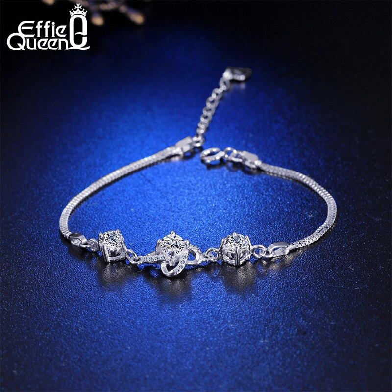 Effie Reine À La Mode En Argent Sterling 925 Bracelet avec Zircon Cubique Fleur Bracelets pour les Femmes De Mariage De La Chine La Main Bijoux PSB03