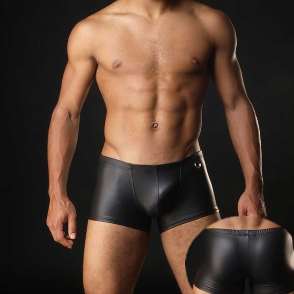 Plus Size <font><b>Boxers</b></font> Black Nylon <font><b>Sexy</b></font> Men PU Faux Leather <font><b>Underwear</b></font> <font><b>Boxers</b></font> Shorts Sheathy Cool Male <font><b>Gay</b></font> <font><b>Underwear</b></font> 1PCS image