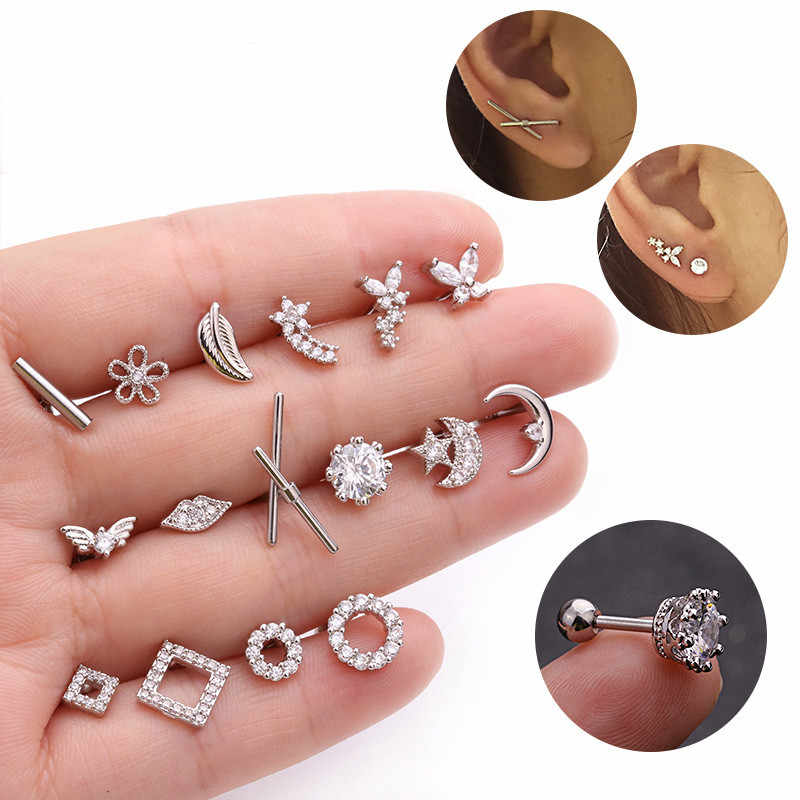 Silver Color CZ Crystal Stud Piercing Moon Star Geometric Cartilage Earring Conch Tragus Stud Helix Cartilage Piercing Jewelry