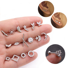 цена на Silver Color CZ Crystal Stud Piercing Moon Star Geometric Cartilage Earring Conch Tragus Stud Helix Cartilage Piercing Jewelry