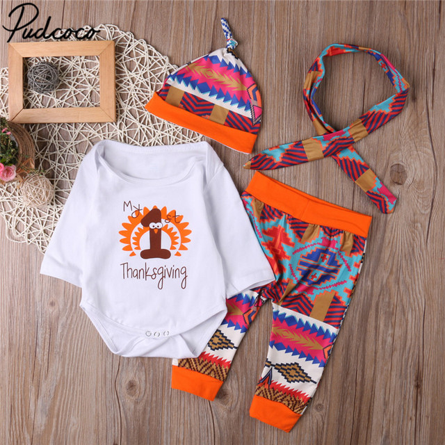First Thanksgiving Clothes Set Newborn Infant Baby Boys Girl Long