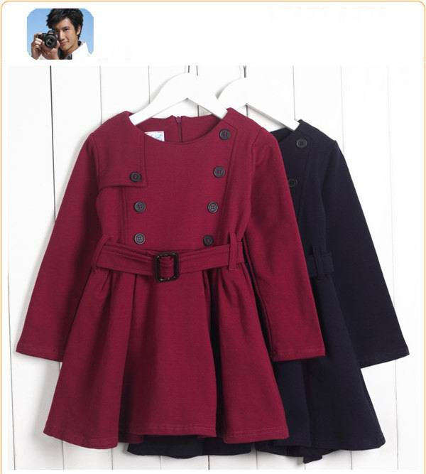 2016 Autumn Little gentlewoman Knitted Full Sleeve Solid Wind coat - Children's Clothing - Photo 6