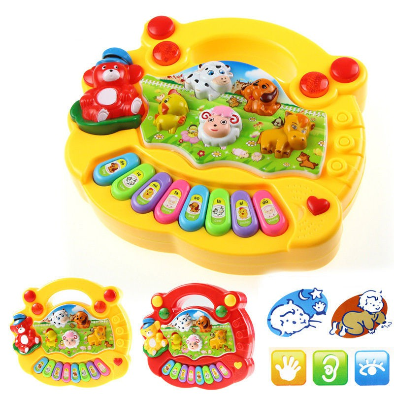 2017 New Style Baby Animal Farm Piano Music Toy Musical Educational Piano Cartoon Animal Funny Toys Random Color X6 1 pc color random new baby kid cartoon animals fruits dimensional puzzles toy jigsaw puzzles educational toy for children gift