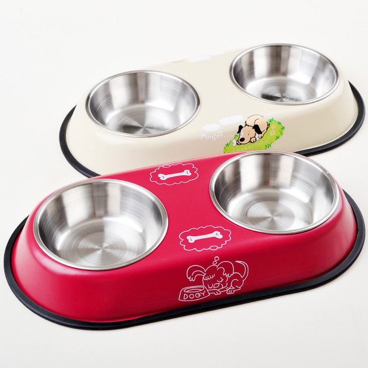 2 sizes dog bowl stainless steel travel feeding feeder water bowl