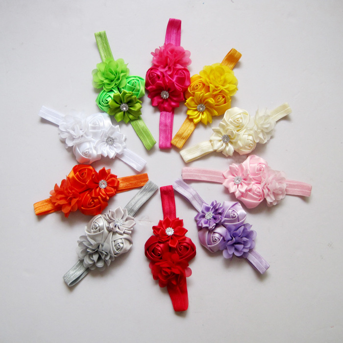 Wholesale Children Headbands Mini Chiffon Flower Satin