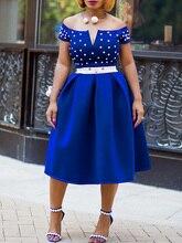 Sexy Club Party Elegant OL Lady Streetwear Autumn Women Dresses Blue Plus Size Off Shoulder Beading Female Fashion Pearl Dress