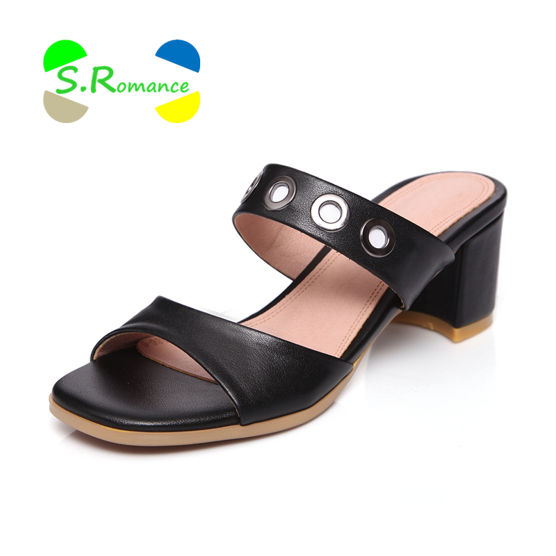 S Romance Women Slippers Genuine Leather Sandals Size 34 43 High Square Heels Metal Ring Women