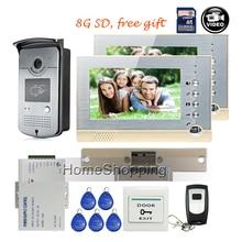 FREE SHIPPING BRAND 7″ Home Color Recording Video Door phone Intercom System + 2 Monitor + RFID Card Reader Door Camera + e-lock