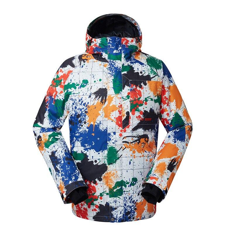 GSOU NEIGE homme Combinaison de Ski En Plein Air vêtements respirants résistant à la Veste de Ski Imperméable Coupe-Vent Veste de Ski Pour Homme Taille XS-XL