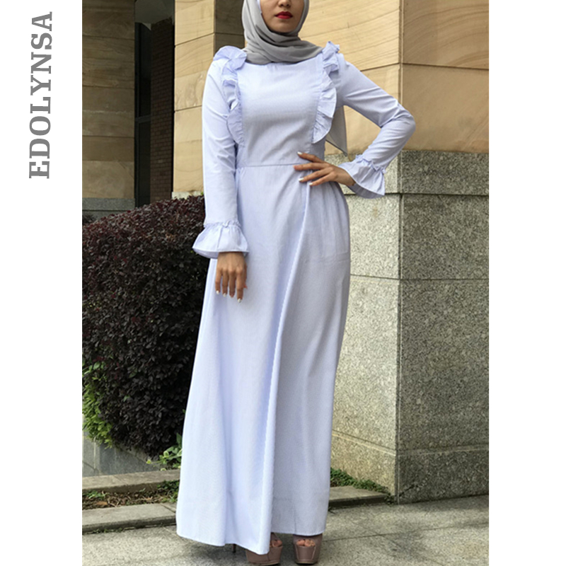 a2bd502f40 2019 Grey Flare Sleeve Maxi Dress Elegant Long Sleeve Pleated Abaya Muslim  Turkish Islamic Clothing For Women Abaya Burka D630
