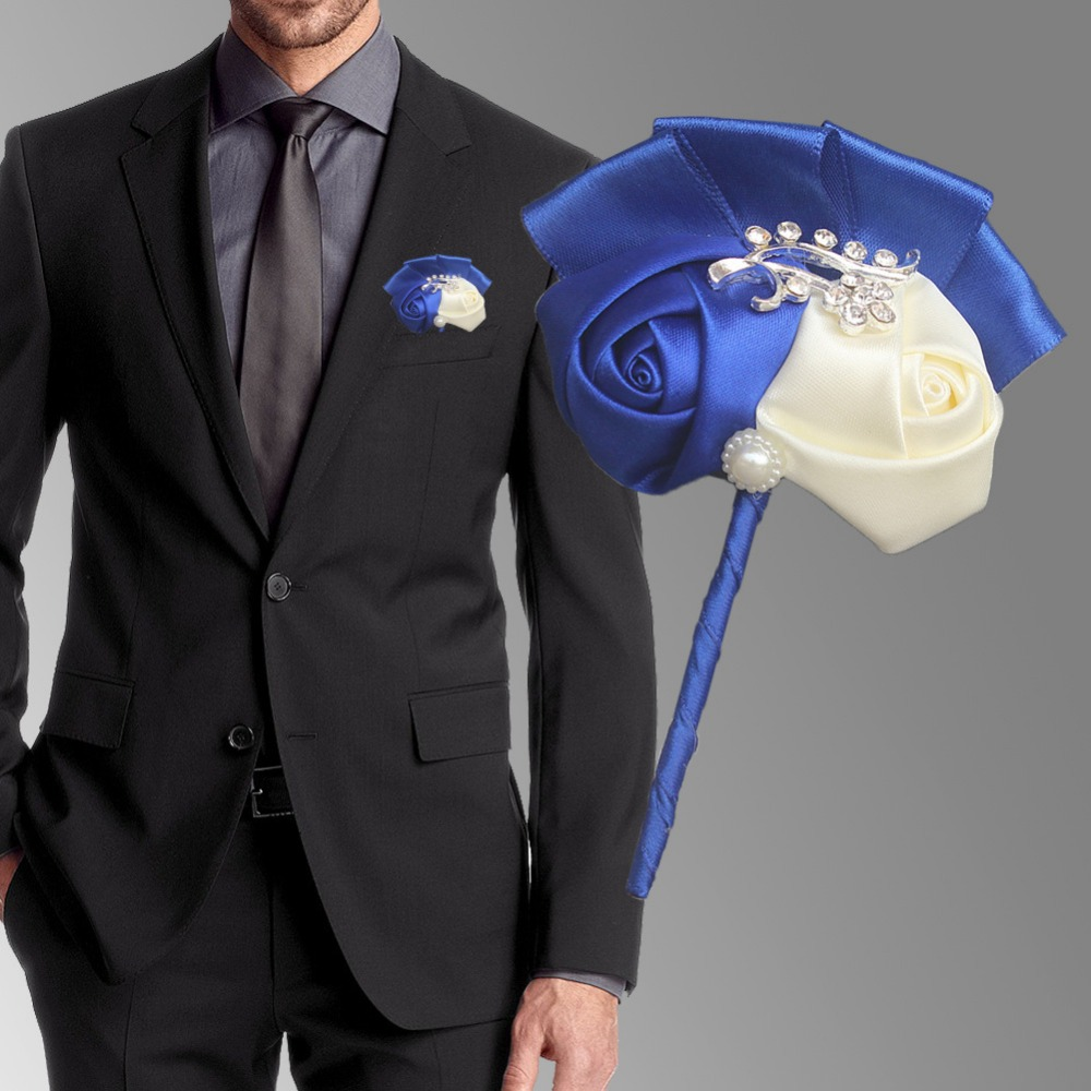 74b9883480a4f Handmade Royal Blue Ivory Wedding Corsages Boutonniere Groom Boutonniere  Wedding Flowers Boutonniere Pin Brooch Custom