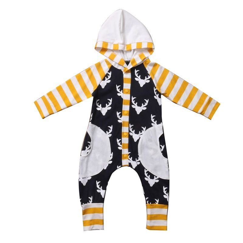 Pudcoco Newborn Infant Baby Boy Girl Kids Autumn Clothes Cotton Hooded Romper Jumpsuit Long Sleeve Clothes Outfit newborn infant warm baby boy girl clothes cotton long sleeve hooded romper jumpsuit one pieces outfit tracksuit 0 24m