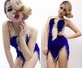 Mujeres Sexy Perspectiva Remiendo de la Gasa de Terciopelo Rhinestone Cantante Traje de Una sola pieza Del Vestido