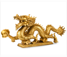 Chinese Feng Shui Dragon Figurine Statue for Luck & Success