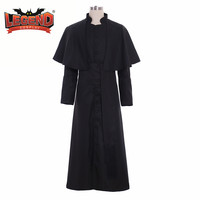 Roman Black Priest Cassock Robe Gown Clergyman Vestments Medieval Ritual Robe Gothic Wizard Costume Black Priest Robe cosplay