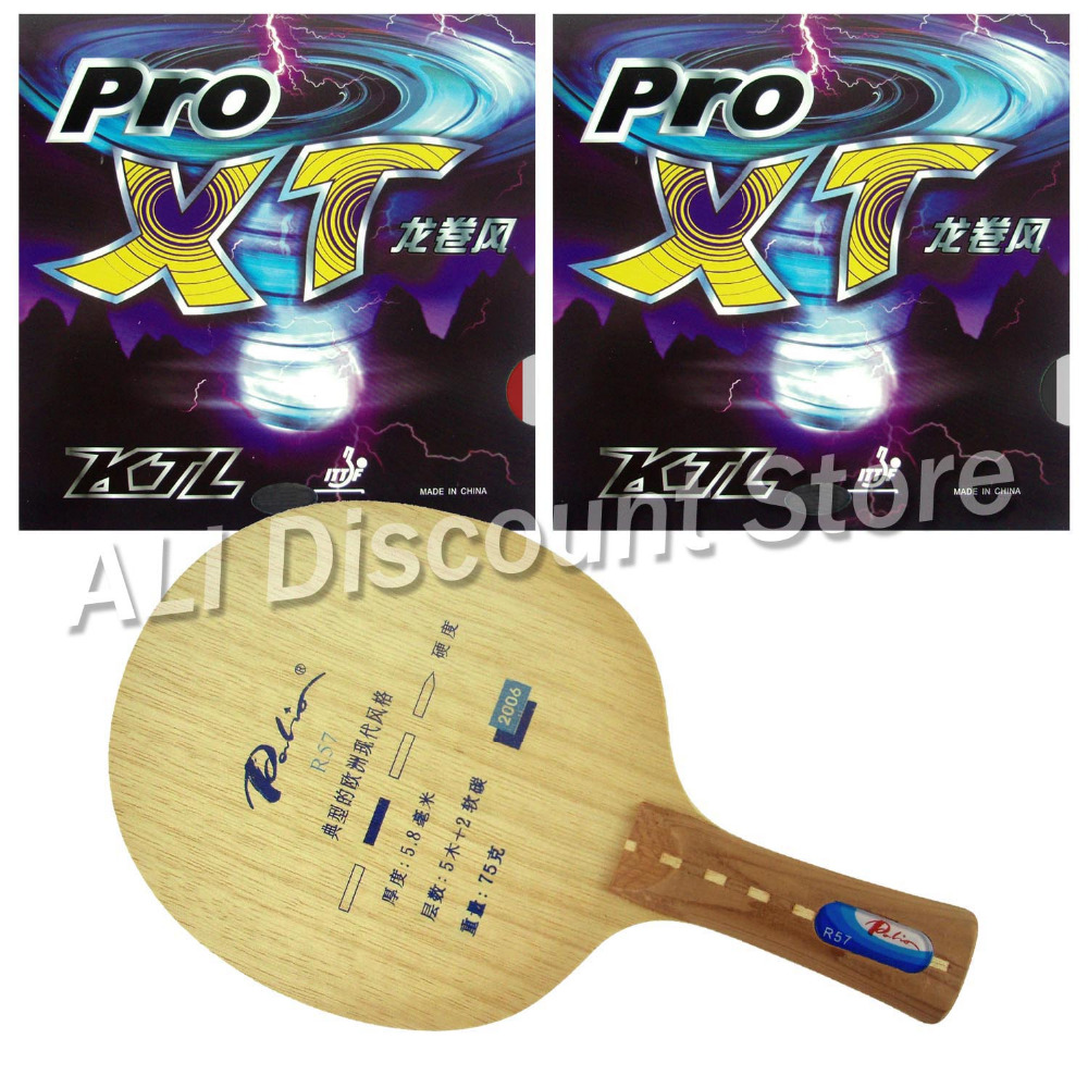 Palio R57 Blade with 2x KTL Pro XT Rubbers for a Table Tennis Racket 2x r