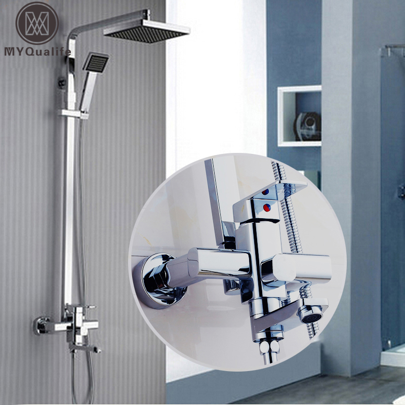 Polished Chrome 8 Rainfall Square Shower Mixer Faucet set In wall Swivel Tub Spout Hand Held Shower Hot /Cold Taps winner women luxury brand skeleton genuine leather strap ladies watch automatic mechanical wristwatches gift box relogio releges