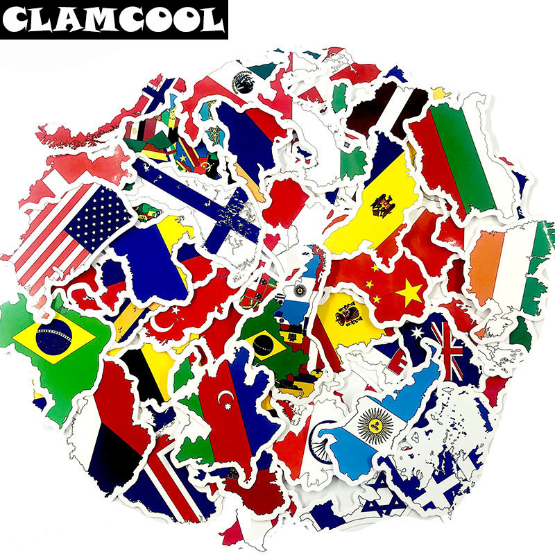 50 Pcs/Set National Flags Graffti Stickers Children Countries Map Travel Sticker For Luggage Laptop Car Refrigerator Toy