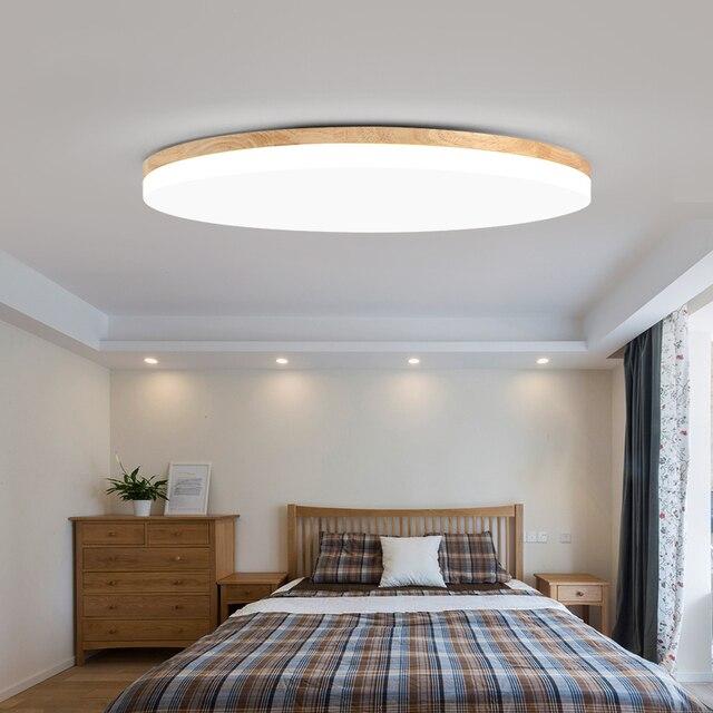 Wood LED Ceiling Lights For Living Room Bedroom Ultrathin 5cm Ceiling Light Modern Ceiling Lamp Round And Square