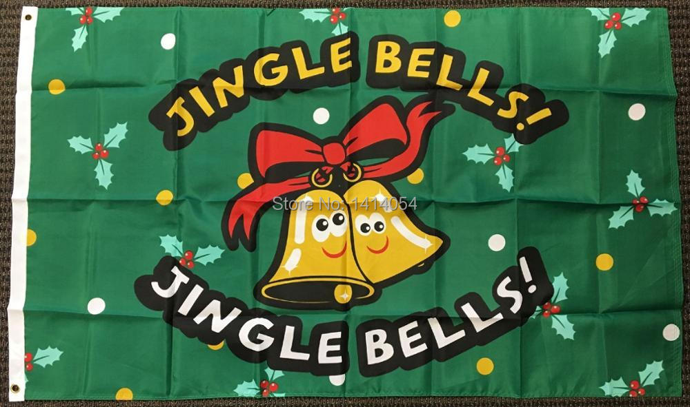 Jingle Bells Merry Christmas Polyester Flag