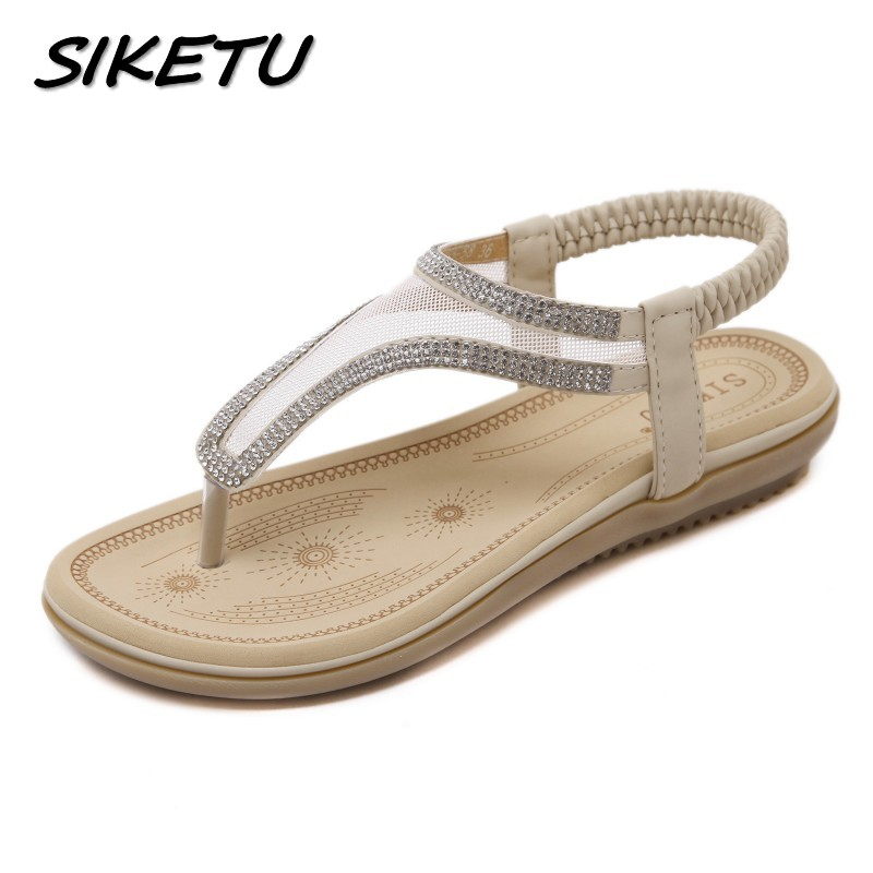 SIKETU New summer Bohemia sandals shoes woman fashion rhinestone mesh flip flop beach soft flat sandals Elastic band size 35-41 sandals 2016 new famous brand buckle womens flip flop sandals summer beach sandals af327