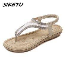 SIKETU Новый летние Bohemia сандалии обувь женщина мода горный хрусталь сетки флип-флоп пляж мягкие плоские сандалии резинка размер 35-41