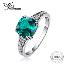 Jewelry Accessories - Fine Jewelry - JewelryPalace Classic 2.3ct Cushion Nano Russian Simulated Emerald Ring 925 SterlinEngagement Rings For Women Brand Fine Jewelry