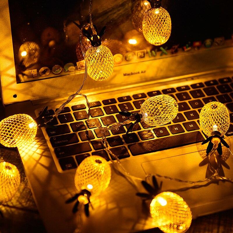 Lampe d'art en fer nordique chaîne fil ananas fruit lampe string INS chambre hyper chauffée chambre décorée de lumières de saint valentin