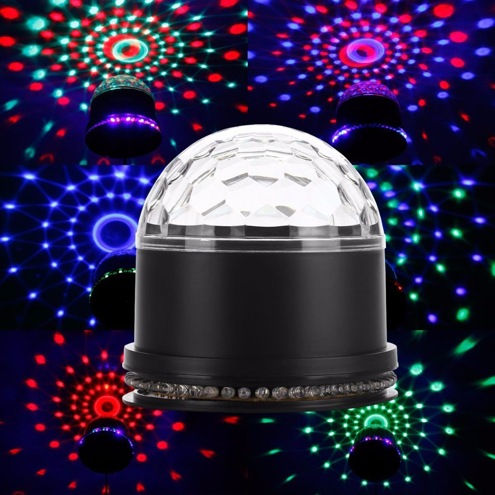 Aimbinet Party Lights RGB Changes Sound Actived Auto RGB Mini Rotating Magic Disco Ball Strobe Stage Lights For DJ Dancing Show