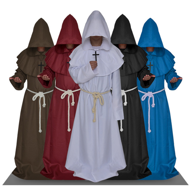 Medieval Monk Friar Renaissance Priest Cosplay Costumes Halloween Party Dress Hooded Robes Cloak Cape Unisex Christian Clothing
