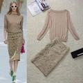 Alta Qualidade New Fashion 2014 Runway Ternos Conjunto das Mulheres Camisola de Malha Recorte Oco Out Bordado Conjunto Saia Plus Size XL