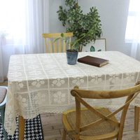Elegant 100 Cotton Knitted Flower Tablecloth Chic Vintage Crocheted Rectangle Tablecloth Handmade Lace Hollow Out Table