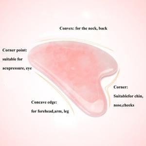 Image 5 - Tablero de Jade gusha de cuarzo rosa, rascador de piedra Natural, herramientas para terapia de presión facial, cuello y espalda