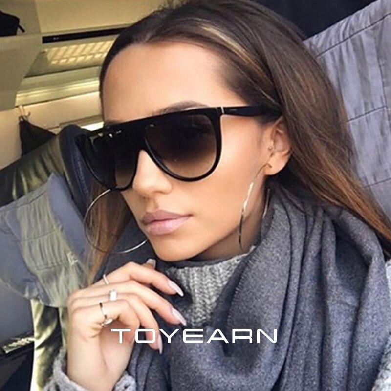 New Fashion Flat Top Oval Sunglasses Women Brand Designer Vintage Kim Kardashian Thin Clear Sun Glasses For Female Oculos De Sol