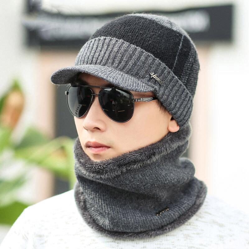 Winter Hats Beanies For Men Warm Male Plus Velvet Knitted Hats Scarves Fashion Cap Collar Set Balaclava Mask Bonnet Gorras