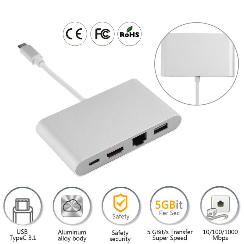 High Speed USB3.0 + HDMI + Type-C 3.1 + RJ45 HUB Type C to HDMI USB 3.0 RJ45 LAN Network HUB Adapter Extender for Macbook