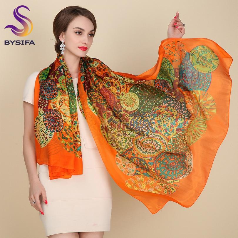 Ultralarge Spring Autumn Silk Scarf Wraps Hot Sale Female Long Scarf Cape Fashion New Design Orange Mulberry Silk Scarf Muffler