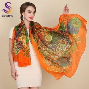 Ultralarge Spring Autumn Silk Scarf Wraps Hot Sale Female Long Scarf Cape Fashion New Design Orange Mulberry Silk Scarf Muffler(China)