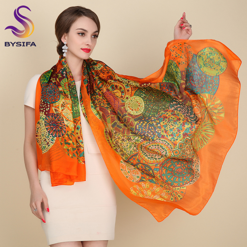 Ultralarge Spring Autumn Silk   Scarf     Wraps   Hot Sale Female Long   Scarf   Cape Fashion New Design Orange Mulberry Silk   Scarf   Muffler