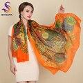 Ultralarge del otoño del resorte de la bufanda de seda envuelve venta caliente femenina larga bufanda del cabo de la moda de nueva diseño orange seda de mora de la bufanda del silenciador