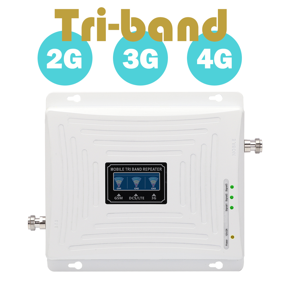 GSM 900 MHz DCS 1800 MHz WCDMA 2100 MHz Repeater Tri Band Penguat Sinyal Seluler UMTS 3G 4G LTE 1800mhz Amplifier 70dB Gain 20dBm
